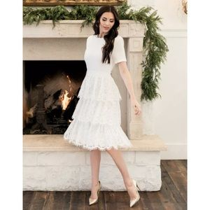 Rachel Parcell White Tiered Ruffle Mix Lace Dress